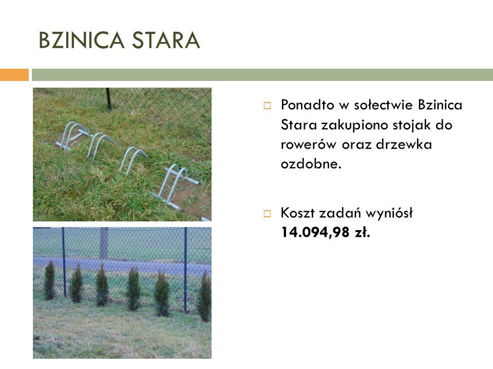 BZINICA STARA  Ponadto w sołectwie Bzinica Stara zakupiono stojak do rowerów oraz drzewka ozdobne.
