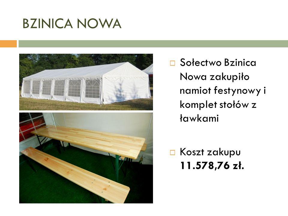 BZINICA NOWA  Sołectwo Bzinica Nowa zakupiło namiot festynowy i komplet stołów z ławkami  Koszt zakupu 11.578,76 zł.