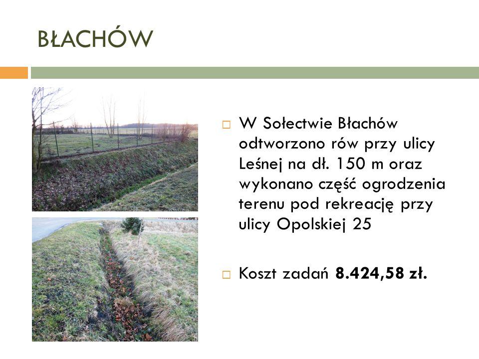 BŁACHÓW  W Sołectwie Błachów odtworzono rów przy ulicy Leśnej na dł.