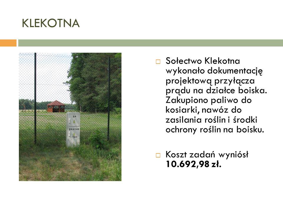 KLEKOTNA  Sołectwo Klekotna wykonało dokumentację projektową przyłącza prądu na działce boiska.