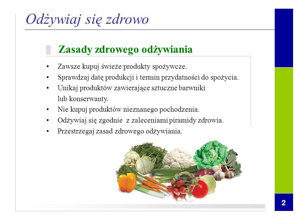 2 Zasady zdrowego odżywiania Zawsze kupuj świeże produkty spożywcze. Sprawdzaj datę produkcji i termin przydatności do spożycia. Unikaj produktów zawi