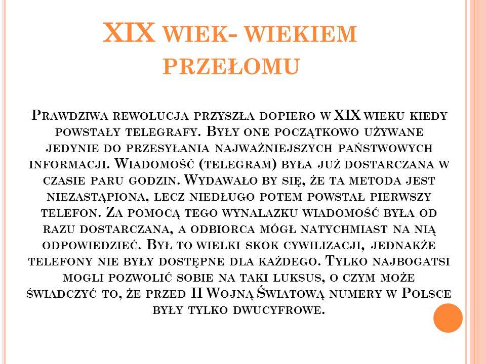 XIX WIEK - WIEKIEM PRZEŁOMU Telegraf.Telefon.