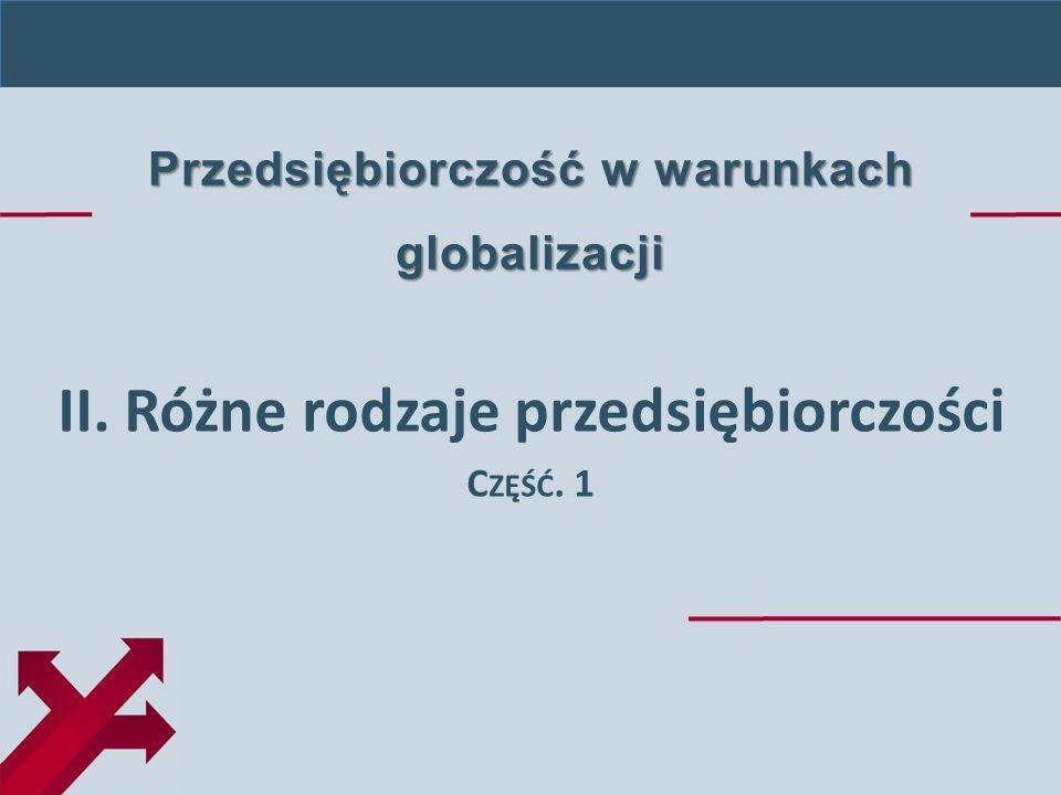 Przedsiębiorczość w warunkach globalizacji II. Różne rodzaje przedsiębiorczości C ZĘŚĆ. 1