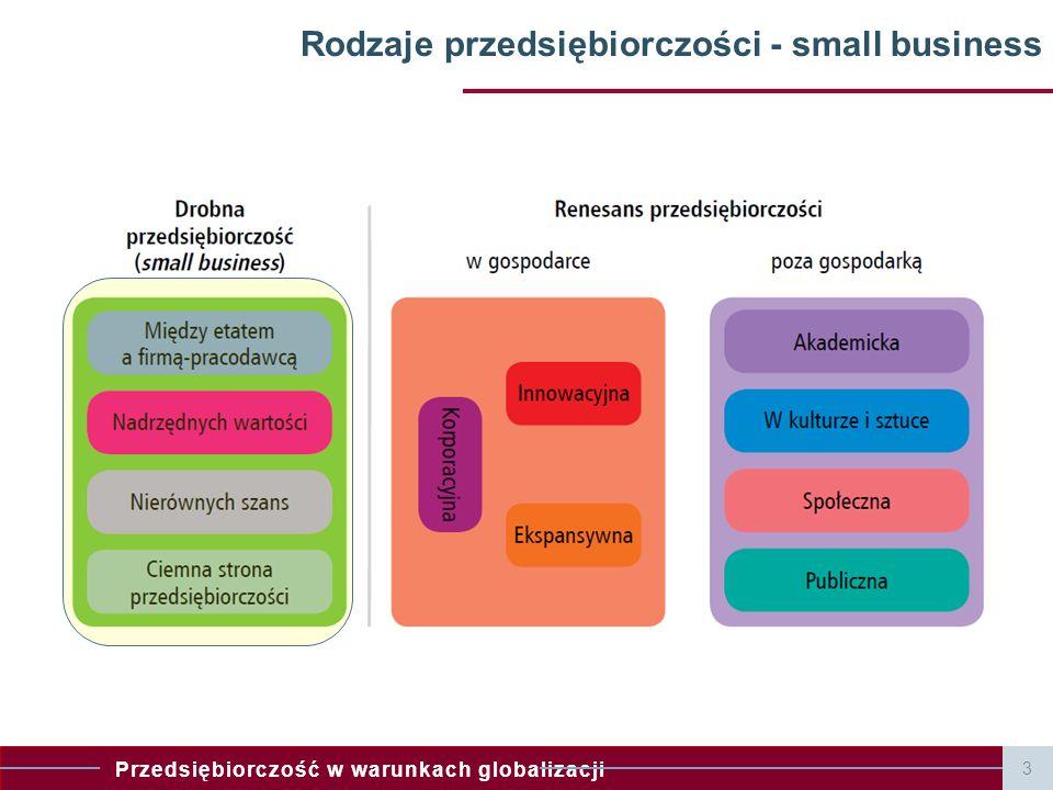 Przedsiębiorczość w warunkach globalizacji Rodzaje przedsiębiorczości - small business 3