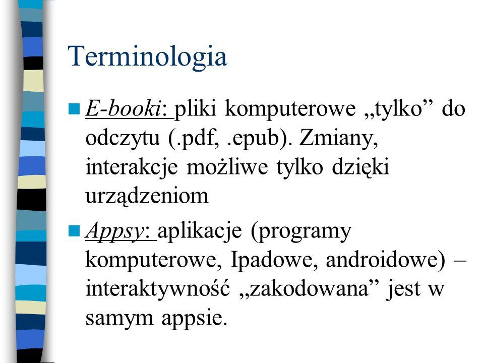 """Terminologia E-booki: pliki komputerowe """"tylko"""" do odczytu (.pdf,.epub). Zmiany, interakcje możliwe tylko dzięki urządzeniom Appsy: aplikacje (program"""