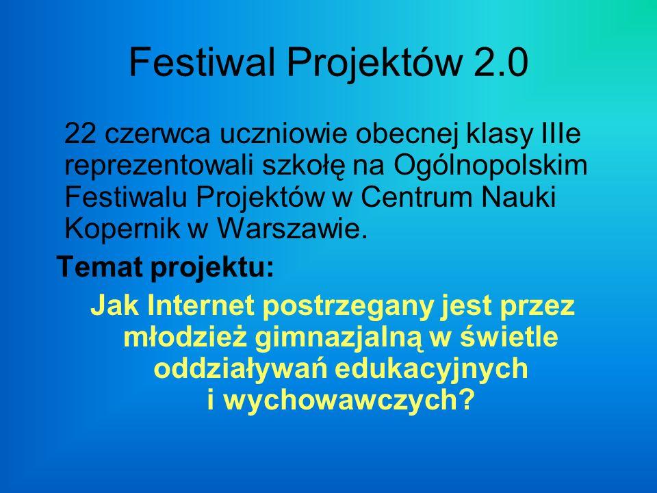 Festiwal Projektów 2.0 22 czerwca uczniowie obecnej klasy IIIe reprezentowali szkołę na Ogólnopolskim Festiwalu Projektów w Centrum Nauki Kopernik w Warszawie.