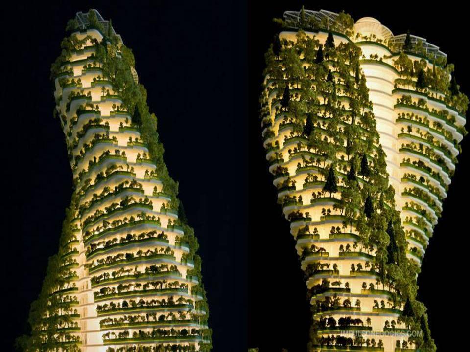 Koncepcja krajobrazu tworzy wiszące ogrody jako lawinę obejmującą cały budynek. Wieża staje się prawdziwym parkiem zaludnionym pionowo, wpisującym się