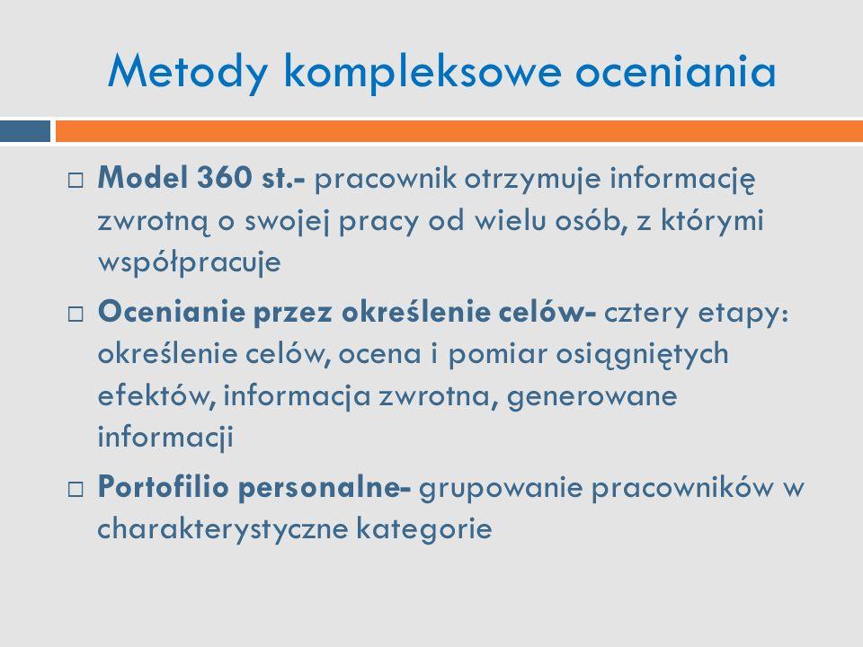 Metody kompleksowe oceniania  Model 360 st.- pracownik otrzymuje informację zwrotną o swojej pracy od wielu osób, z którymi współpracuje  Ocenianie