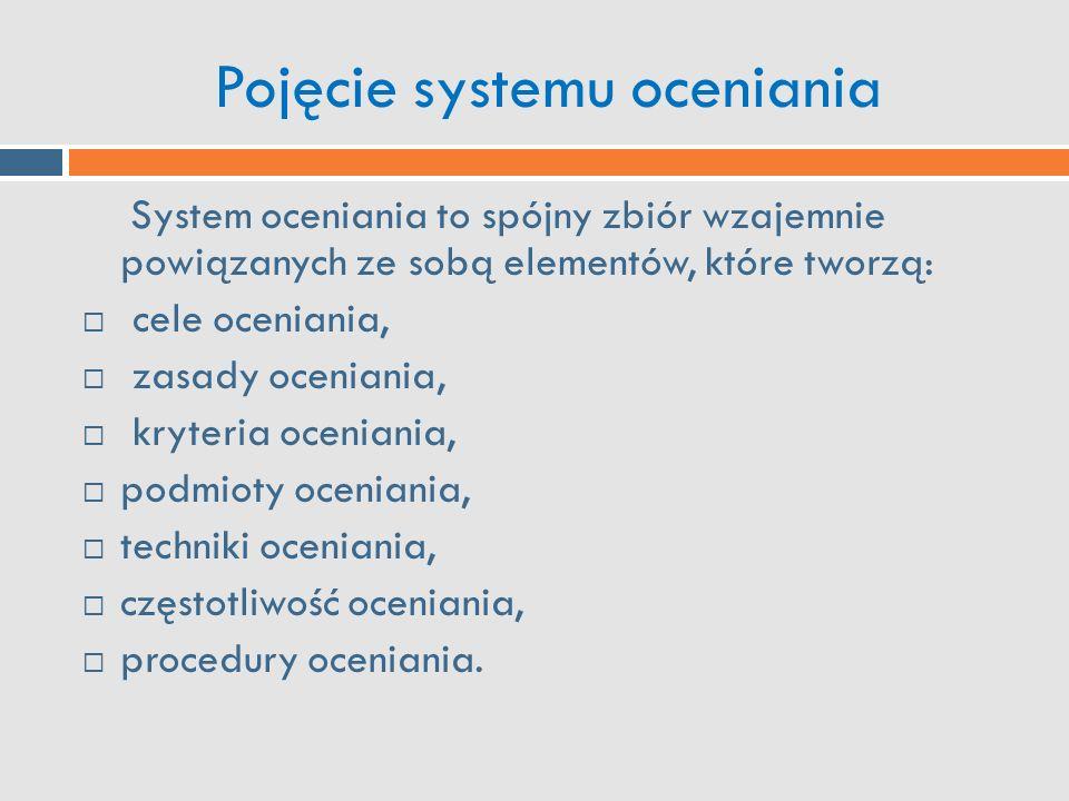 Pojęcie systemu oceniania System oceniania to spójny zbiór wzajemnie powiązanych ze sobą elementów, które tworzą:  cele oceniania,  zasady oceniania