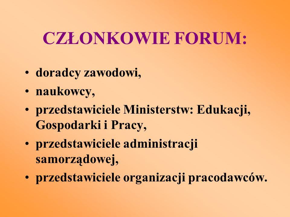 CZŁONKOWIE FORUM: doradcy zawodowi, naukowcy, przedstawiciele Ministerstw: Edukacji, Gospodarki i Pracy, przedstawiciele administracji samorządowej, przedstawiciele organizacji pracodawców.