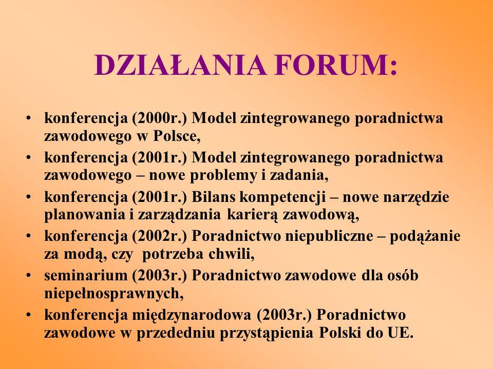 DZIAŁANIA FORUM: konferencja (2000r.) Model zintegrowanego poradnictwa zawodowego w Polsce, konferencja (2001r.) Model zintegrowanego poradnictwa zawodowego – nowe problemy i zadania, konferencja (2001r.) Bilans kompetencji – nowe narzędzie planowania i zarządzania karierą zawodową, konferencja (2002r.) Poradnictwo niepubliczne – podążanie za modą, czy potrzeba chwili, seminarium (2003r.) Poradnictwo zawodowe dla osób niepełnosprawnych, konferencja międzynarodowa (2003r.) Poradnictwo zawodowe w przededniu przystąpienia Polski do UE.