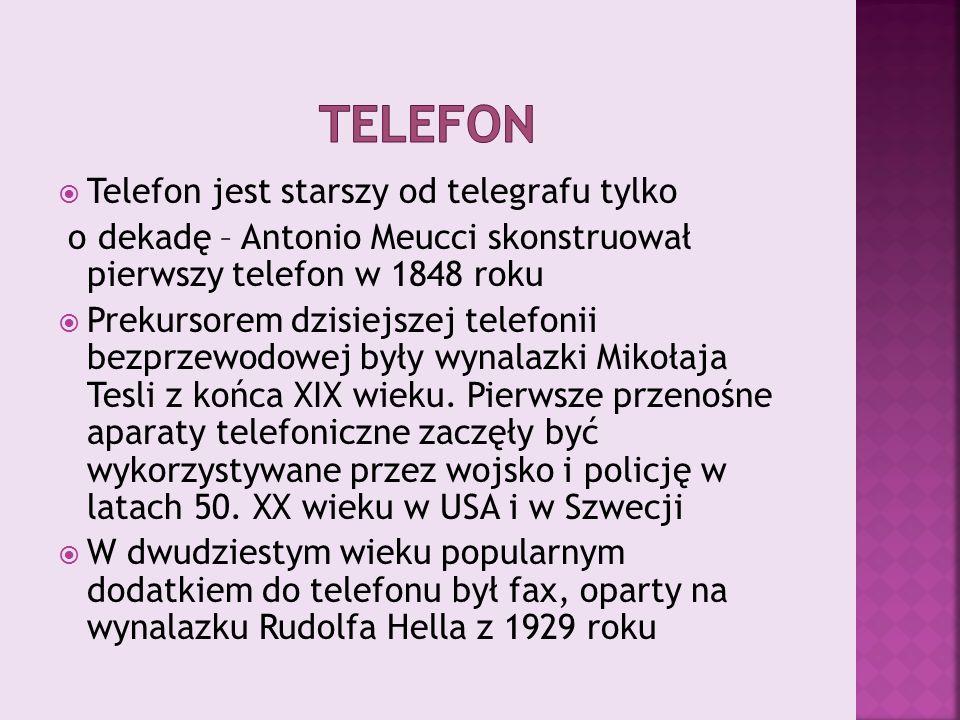  Telefon jest starszy od telegrafu tylko o dekadę – Antonio Meucci skonstruował pierwszy telefon w 1848 roku  Prekursorem dzisiejszej telefonii bezprzewodowej były wynalazki Mikołaja Tesli z końca XIX wieku.