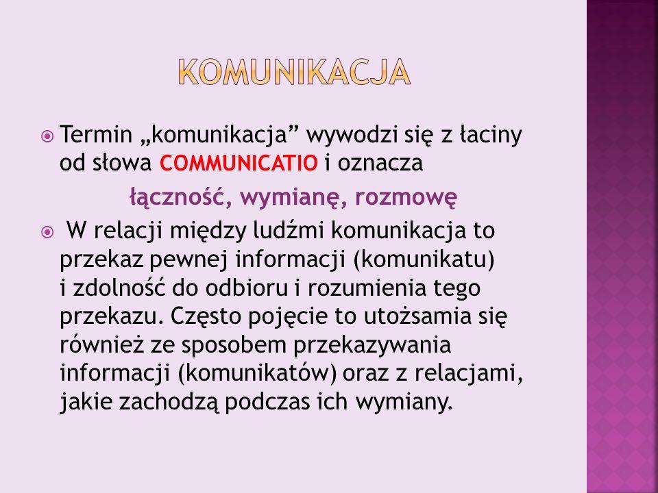 """ Termin """"komunikacja wywodzi się z łaciny od słowa COMMUNICATIO i oznacza łączność, wymianę, rozmowę  W relacji między ludźmi komunikacja to przekaz pewnej informacji (komunikatu) i zdolność do odbioru i rozumienia tego przekazu."""