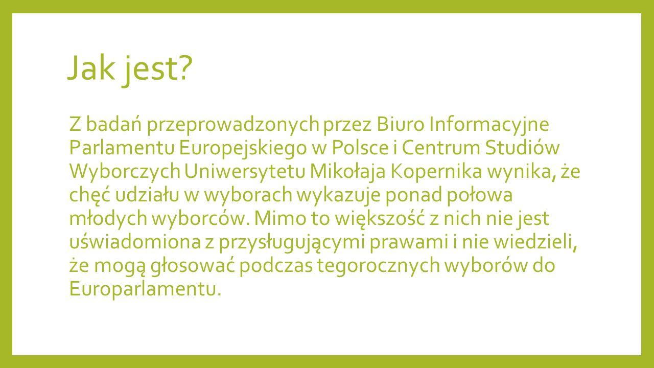 Jak jest? Z badań przeprowadzonych przez Biuro Informacyjne Parlamentu Europejskiego w Polsce i Centrum Studiów Wyborczych Uniwersytetu Mikołaja Koper