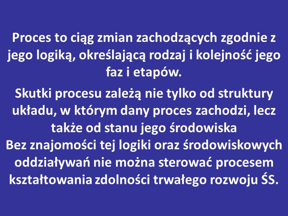 Proces to ciąg zmian zachodzących zgodnie z jego logiką, określającą rodzaj i kolejność jego faz i etapów. Skutki procesu zależą nie tylko od struktur