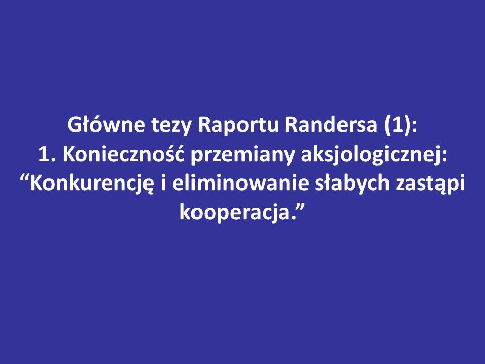 """Główne tezy Raportu Randersa (1): 1. Konieczność przemiany aksjologicznej: """"Konkurencję i eliminowanie słabych zastąpi kooperacja."""""""