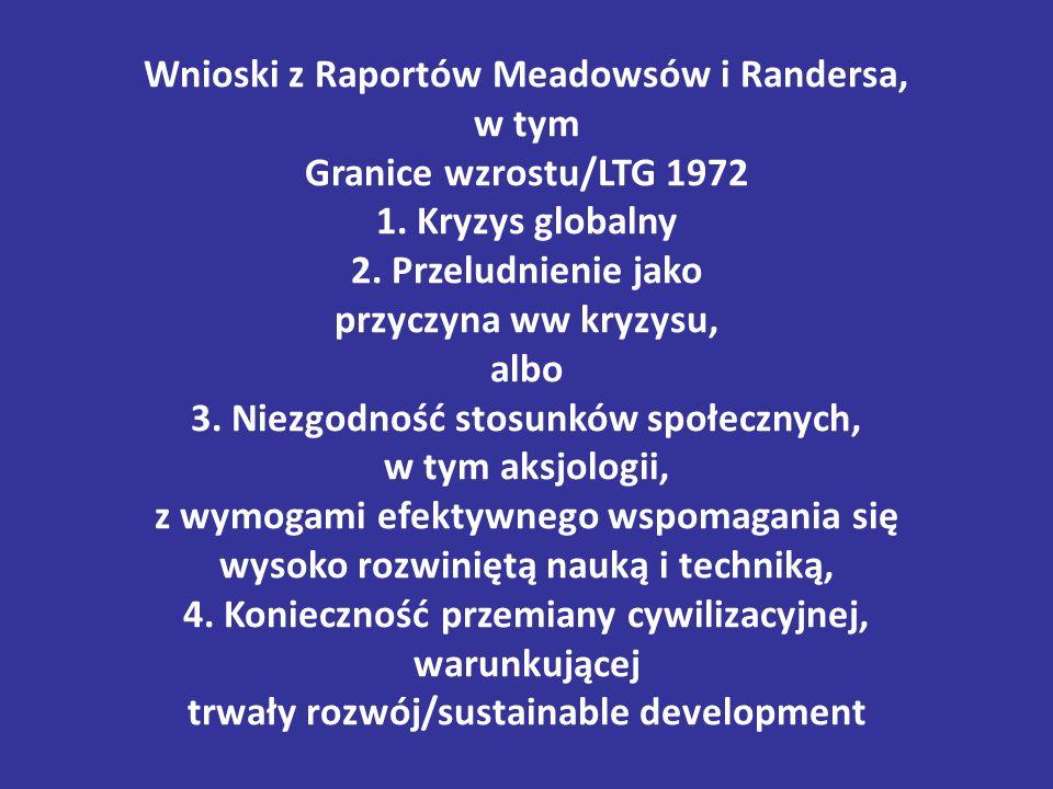 Wnioski z Raportów Meadowsów i Randersa, w tym Granice wzrostu/LTG 1972 1. Kryzys globalny 2. Przeludnienie jako przyczyna ww kryzysu, albo 3. Niezgod