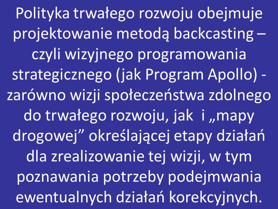 Polityka trwałego rozwoju obejmuje projektowanie metodą backcasting – czyli wizyjnego programowania strategicznego (jak Program Apollo) - zarówno wizj