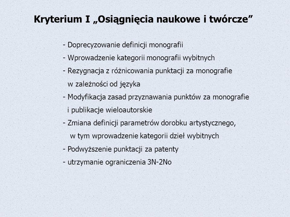 """Kryterium I """"Osiągnięcia naukowe i twórcze"""" - Doprecyzowanie definicji monografii - Wprowadzenie kategorii monografii wybitnych - Rezygnacja z różnico"""