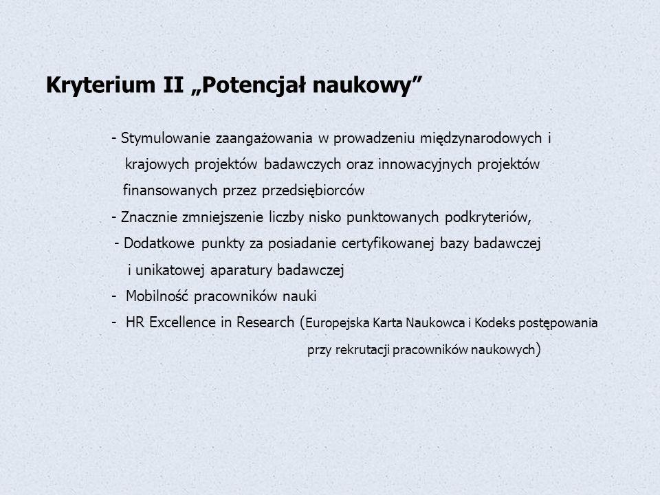 """Kryterium II """"Potencjał naukowy"""" - Stymulowanie zaangażowania w prowadzeniu międzynarodowych i krajowych projektów badawczych oraz innowacyjnych proje"""
