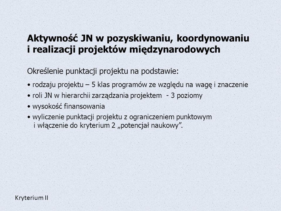 Aktywność JN w pozyskiwaniu, koordynowaniu i realizacji projektów międzynarodowych Określenie punktacji projektu na podstawie: rodzaju projektu – 5 kl