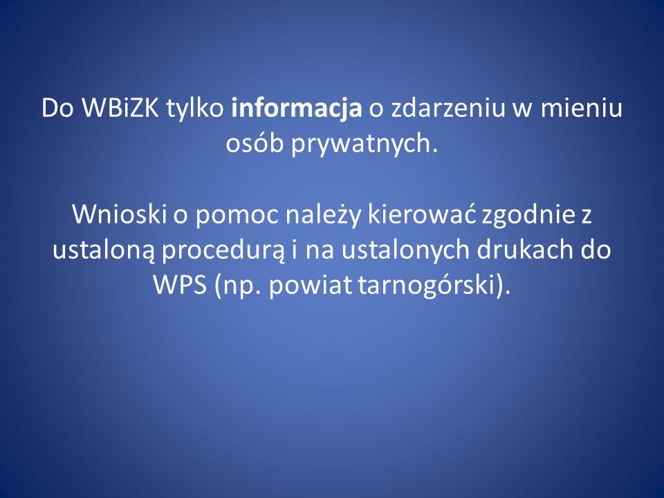 Do WBiZK tylko informacja o zdarzeniu w mieniu osób prywatnych.