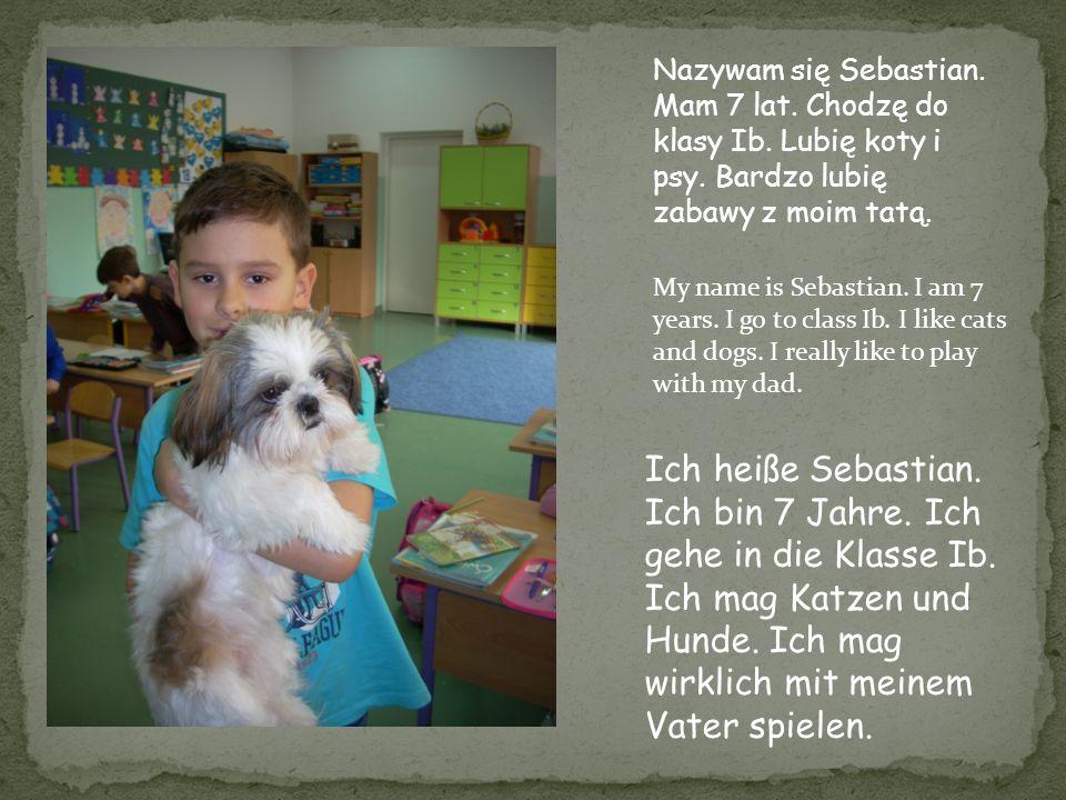 Nazywam się Sebastian. Mam 7 lat. Chodzę do klasy Ib. Lubię koty i psy. Bardzo lubię zabawy z moim tatą. My name is Sebastian. I am 7 years. I go to c