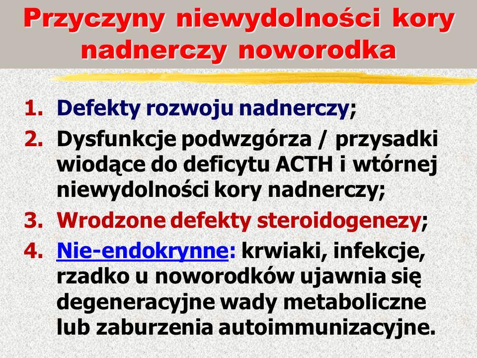 1.Defekty rozwoju nadnerczy; 2.Dysfunkcje podwzgórza / przysadki wiodące do deficytu ACTH i wtórnej niewydolności kory nadnerczy; 3.Wrodzone defekty s