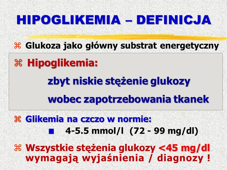 HIPOGLIKEMIA – DEFINICJA zGlukoza jako główny substrat energetyczny zHipoglikemia: zbyt niskie stężenie glukozy wobec zapotrzebowania tkanek zGlikemia