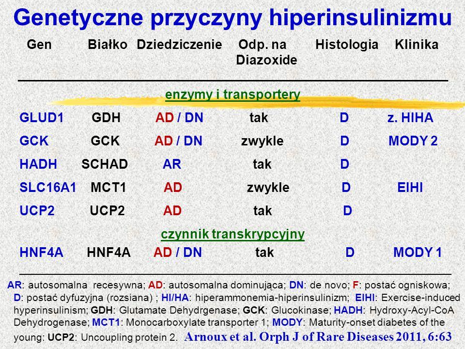 Genetyczne przyczyny hiperinsulinizmu Gen Białko Dziedziczenie Odp. na Histologia Klinika Diazoxide __________________________________________________