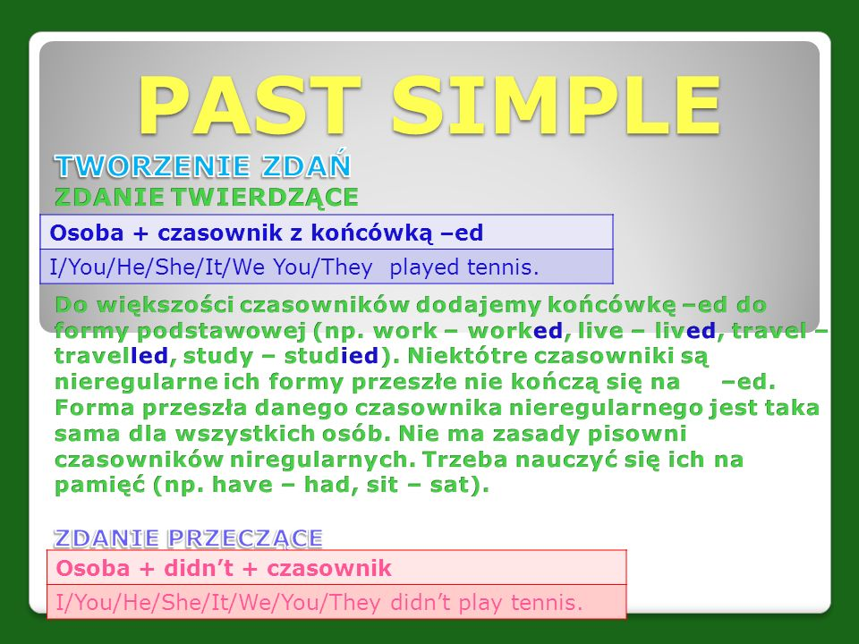 PAST SIMPLE Osoba + czasownik z końcówką –ed I/You/He/She/It/We You/They played tennis. Osoba + didn't + czasownik I/You/He/She/It/We/You/They didn't