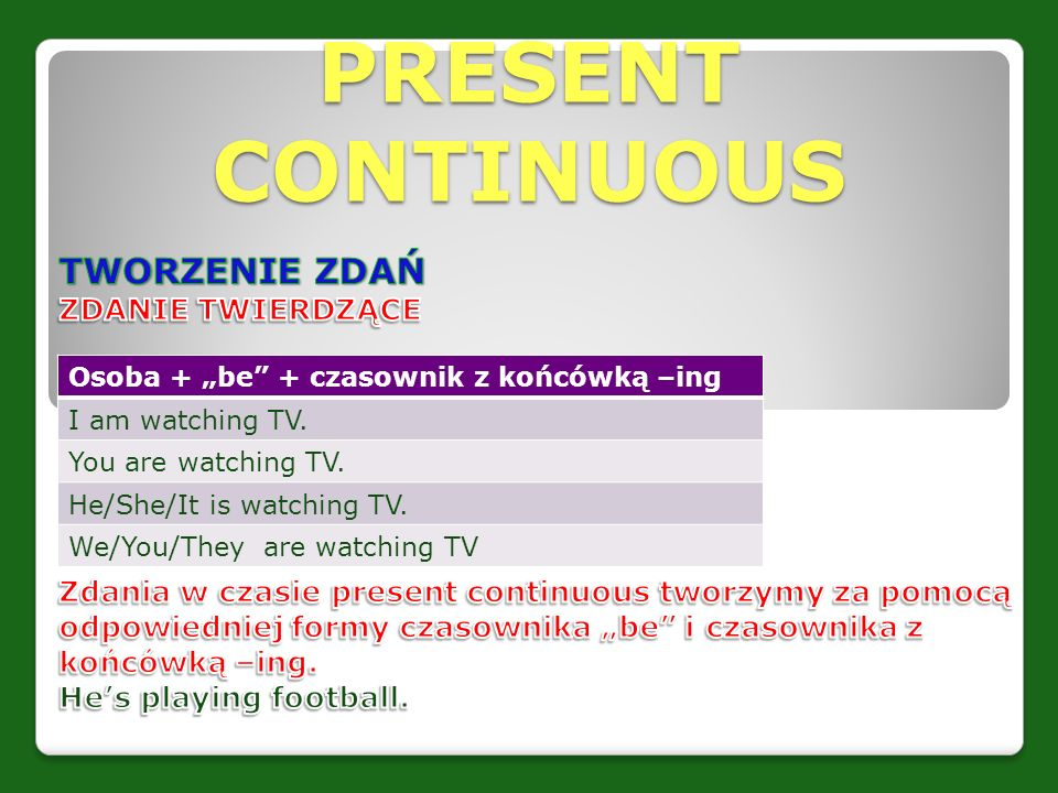 "PRESENT CONTINUOUS Osoba + ""be"" + czasownik z końcówką –ing I am watching TV. You are watching TV. He/She/It is watching TV. We/You/They are watching"