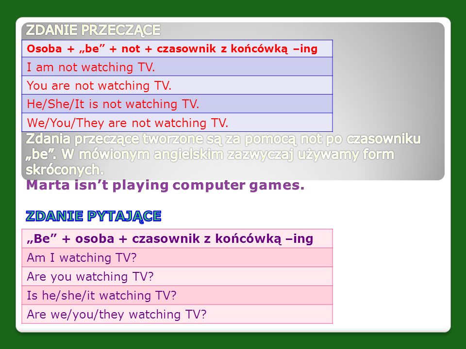 "Osoba + ""be"" + not + czasownik z końcówką –ing I am not watching TV. You are not watching TV. He/She/It is not watching TV. We/You/They are not watchi"