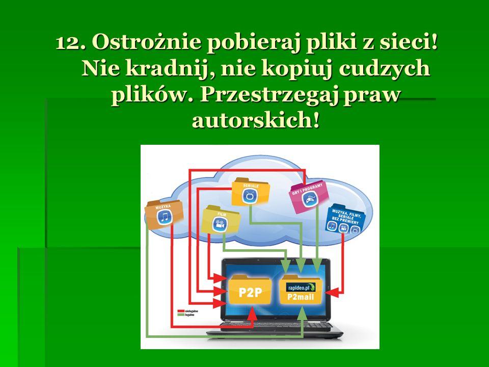 12. Ostrożnie pobieraj pliki z sieci! Nie kradnij, nie kopiuj cudzych plików. Przestrzegaj praw autorskich!