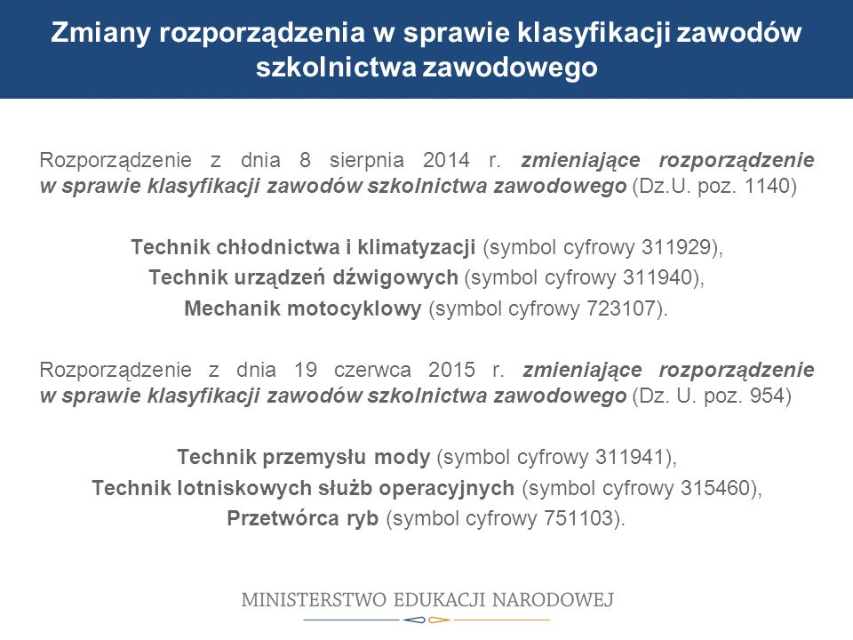 UDZIAŁ W MODERNIZACJI BAZY DYDAKTYCZNEJ Zmiany rozporządzenia w sprawie klasyfikacji zawodów szkolnictwa zawodowego Rozporządzenie z dnia 8 sierpnia 2014 r.
