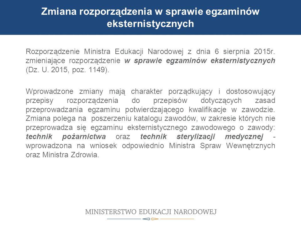 UDZIAŁ W MODERNIZACJI BAZY DYDAKTYCZNEJ Zmiana rozporządzenia w sprawie egzaminów eksternistycznych Rozporządzenie Ministra Edukacji Narodowej z dnia 6 sierpnia 2015r.