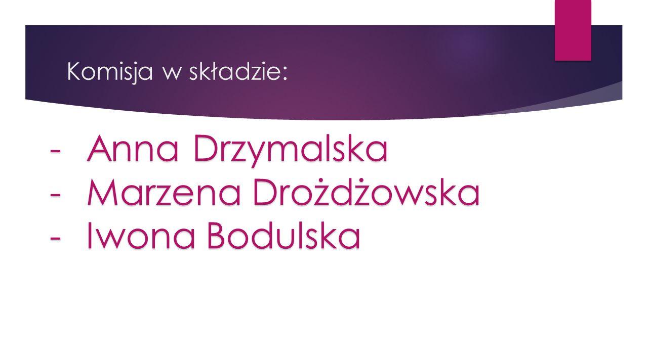 Komisja w składzie: -Anna Drzymalska -Marzena Drożdżowska -Iwona Bodulska