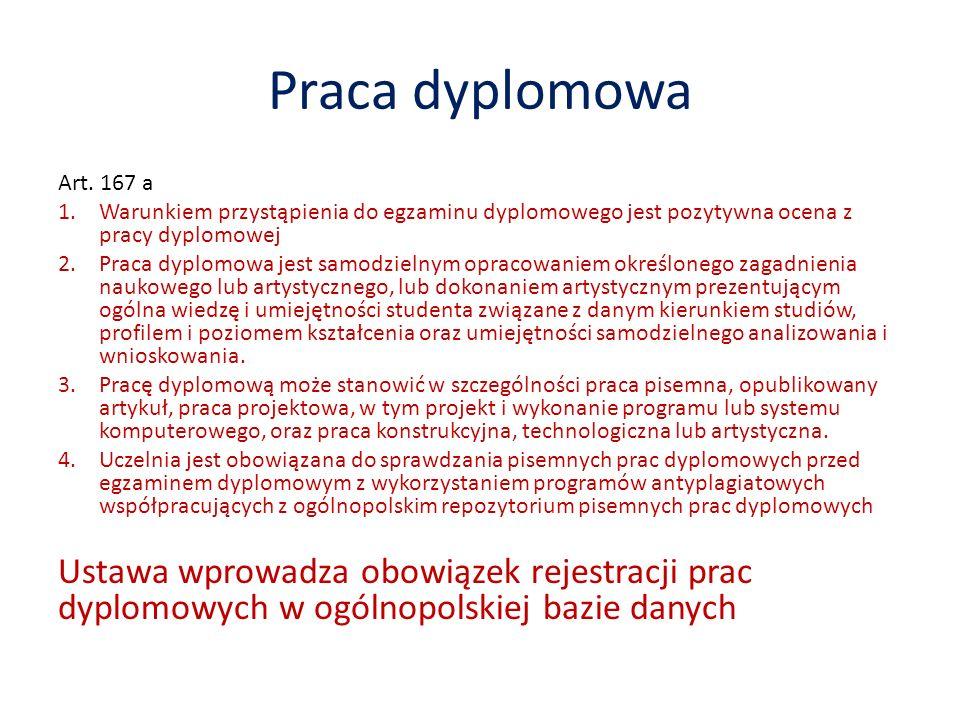 Praca dyplomowa Art. 167 a 1.Warunkiem przystąpienia do egzaminu dyplomowego jest pozytywna ocena z pracy dyplomowej 2.Praca dyplomowa jest samodzieln
