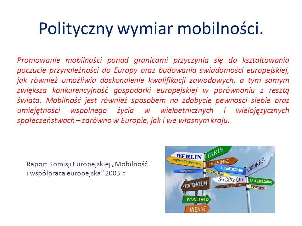Polityczny wymiar mobilności. Promowanie mobilności ponad granicami przyczynia się do kształtowania poczucie przynależności do Europy oraz budowania ś