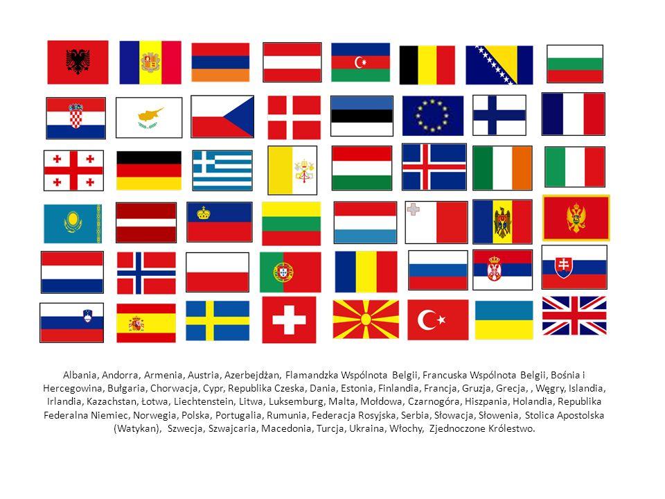 Albania, Andorra, Armenia, Austria, Azerbejdżan, Flamandzka Wspólnota Belgii, Francuska Wspólnota Belgii, Bośnia i Hercegowina, Bułgaria, Chorwacja, Cypr, Republika Czeska, Dania, Estonia, Finlandia, Francja, Gruzja, Grecja,, Węgry, Islandia, Irlandia, Kazachstan, Łotwa, Liechtenstein, Litwa, Luksemburg, Malta, Mołdowa, Czarnogóra, Hiszpania, Holandia, Republika Federalna Niemiec, Norwegia, Polska, Portugalia, Rumunia, Federacja Rosyjska, Serbia, Słowacja, Słowenia, Stolica Apostolska (Watykan), Szwecja, Szwajcaria, Macedonia, Turcja, Ukraina, Włochy, Zjednoczone Królestwo.
