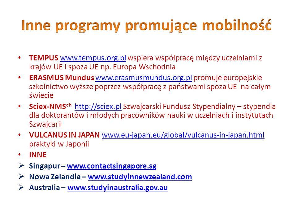 TEMPUS www.tempus.org.pl wspiera współpracę między uczelniami z krajów UE i spoza UE np. Europa Wschodniawww.tempus.org.pl ERASMUS Mundus www.erasmusm