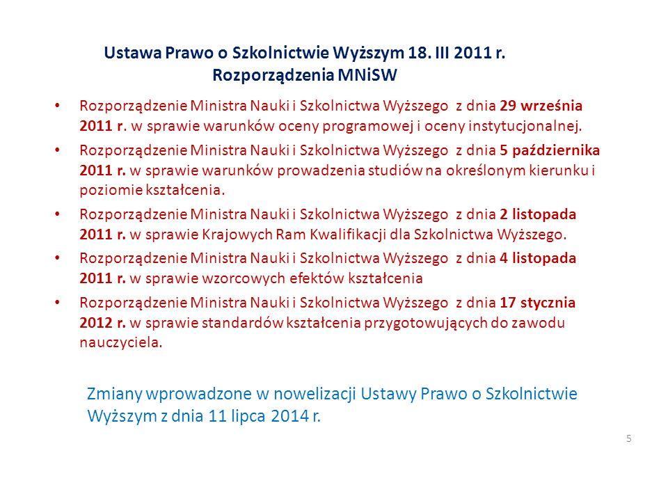Ustawa Prawo o Szkolnictwie Wyższym 18. III 2011 r. Rozporządzenia MNiSW Rozporządzenie Ministra Nauki i Szkolnictwa Wyższego z dnia 29 września 2011