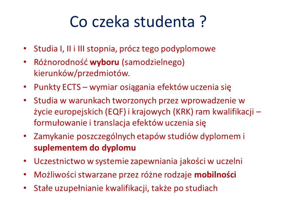 Co czeka studenta .