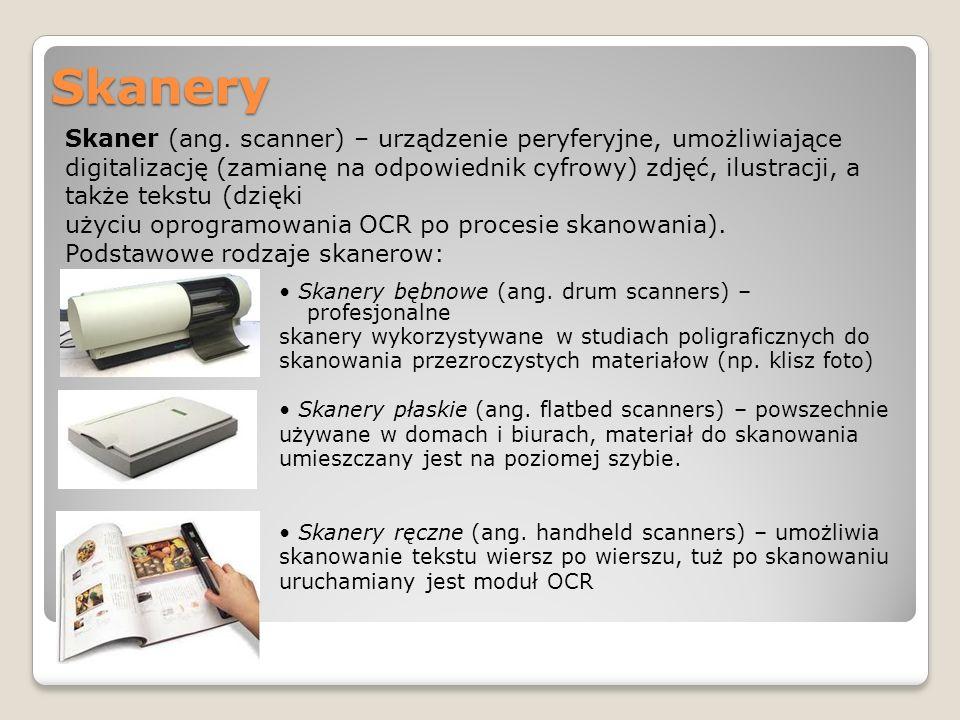 Skanery Skanery bębnowe (ang. drum scanners) – profesjonalne skanery wykorzystywane w studiach poligraficznych do skanowania przezroczystych materiało