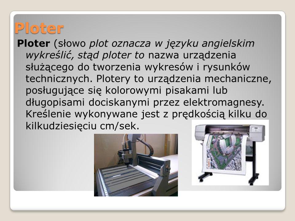 Ploter Ploter (słowo plot oznacza w języku angielskim wykreślić, stąd ploter to nazwa urządzenia służącego do tworzenia wykresów i rysunków technicznych.