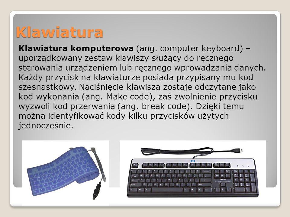 Podział klawiatur ze względu na budowę ● mechaniczne (historycznie najstarsze – ruch klawisza za pomocą układow mechanicznych bezpośrednio wykonuje czynność użyteczną (np.