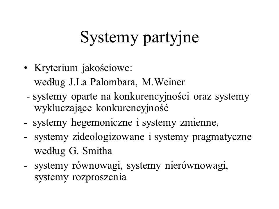 Systemy partyjne Kryterium jakościowe: według J.La Palombara, M.Weiner - systemy oparte na konkurencyjności oraz systemy wykluczające konkurencyjność - systemy hegemoniczne i systemy zmienne, -systemy zideologizowane i systemy pragmatyczne według G.