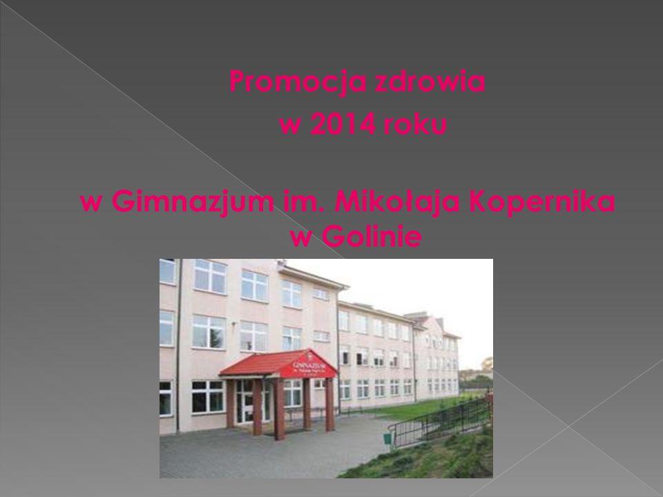 Promocja zdrowia w 2014 roku w Gimnazjum im. Mikołaja Kopernika w Golinie