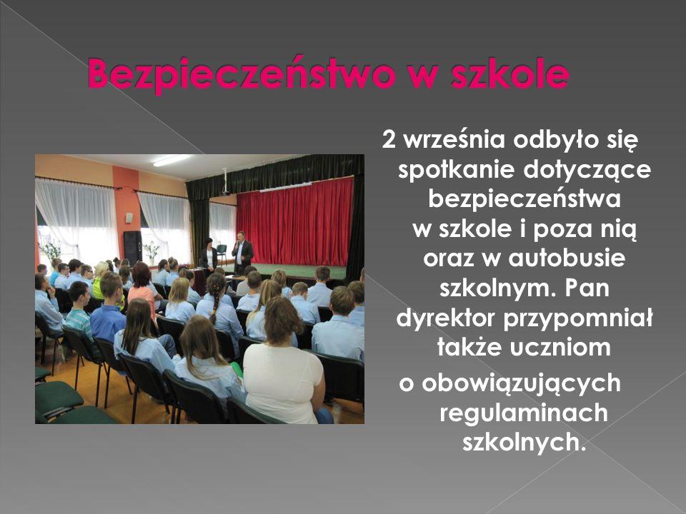 2 września odbyło się spotkanie dotyczące bezpieczeństwa w szkole i poza nią oraz w autobusie szkolnym.