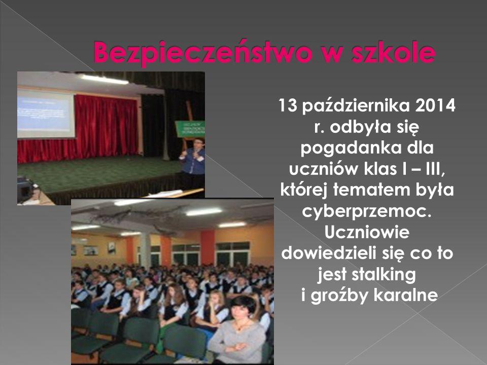 13 października 2014 r. odbyła się pogadanka dla uczniów klas I – III, której tematem była cyberprzemoc. Uczniowie dowiedzieli się co to jest stalking